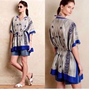 Anthropologie Floreat Lona Blue Embroidered Tunic